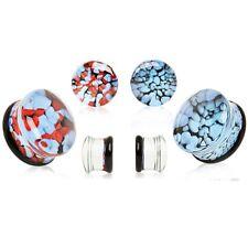 """PAIR - UNIQUE PEBBLED PYREX GLASS PLUGS DOUBLE FLARED EAR GAUGES (6g-3/4"""")"""