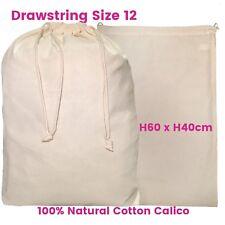 Large Calico Bag  Linen Bag Drawstring Calico Bags Eco Bag  S12 H60 x W40cm