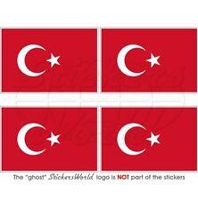 """TURKEY Turkish Flag Türkiye  Vinyl Bumper-Helmet Stickers, Decals 50mm (2"""")  x4"""