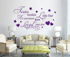 HAND Carving TWINKLE LITTLE STAR LOVE parole preventivo Muro ARTE Adesivo UK rui150