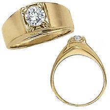 1 Carat G-H Enhanced Diamond Designer Solitaire Mens Man Wedding Ring 14K Y Gold