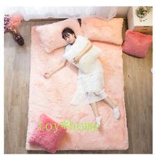 100% Coral Fleece Fabrics Winter Mattress Foldable Mats Folding Full Size Bed US