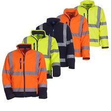 Men's Hi-Vis Visibility Soft-shell Jacket Safety Work-wear  EN ISO20471 Class 3