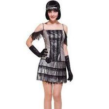 Flapper Woman Adult Costume 20s Halloween S M L Black Fringe Silver Dress Gloves