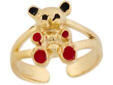 Teddy Bear Cute Ladies Toe Ring 10k or 14k Yellow Gold Enamel