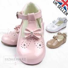 BABY GIRLS SPANISH STYLE SHOES T-BAR BOW DIAMANTE PINK WHITE CAMEL INFANT UK 2-6