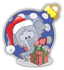 "Christmas Elephant Gift Car Bumper Sticker Decal  ""SIZES"""