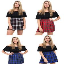 "New Ladies Women Tartan Pleated Box Pleat Elasticated Mini Skirt - 18"" Length"