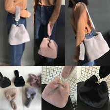Korea Fashion Women Fur Cuty Bag Tote Cross Body Handbags Black Pink Soft Party