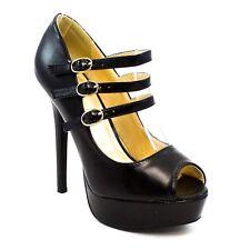 nib SHOEREPUBLIC RUMI Women's Black Faux Leather High Heels Pump Sandals w/Strap