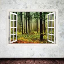 Woods in Window Frame wall art sticker decal transfer mural Wall Sticker WSD615