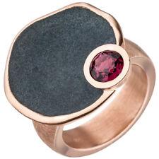 Ring mit rotem Rhodolith flache Ebene teiloxydiert 925 Silber Rotgold vergoldet