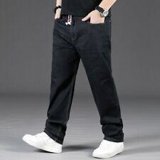 Men Plus Size Jeans Loose Denim Pants Stretch Baggy Straight Leg Trouser Classic