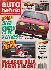 AUTO HEBDO N°569. 1987. ALFA ROMEO 75 V6. GP BRESIL. POLICE DES AUTOROUTES.
