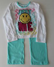 Pyjama Set Schlafanzug Nachtzeug Mädchen Smiley Türkis Größe 116 128 140 152 #35