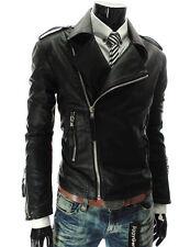 DE Herren Lederjacke Biker Men's Leather Jacket Coat Homme Veste En cuir R12c