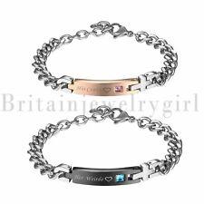 Stainless Steel Her Weirdo His Crazy Cross Chain Couple Bracelet for Men Women