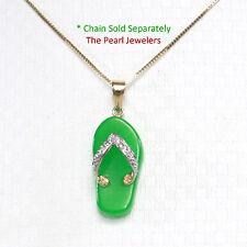 14k Solid Yellow Gold Diamond Set on Flip-Flop Slipper of Green Jade Pendant TPJ