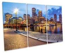 Boston City Skyline TREBLE CANVAS WALL ART Box Framed Picture