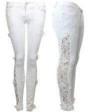 New Womens Ladies Stretch Crochet Side Lace Skinny Fit Denim Jeans Sizes 6-14