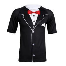 Mens Tuxedo Short Sleeve Funny 3D Print Casual tops T-Shirt Graphics Tee Costume