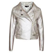 Filles Vestes Enfants simili cuir en cuir synthétique argent métallisé Veste Fermeture Éclair Motard Manteau 5-13