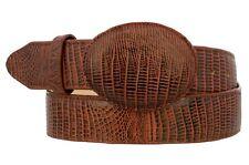 Mens Cognac Teju Lizard Print Cowboy Belt Genuine Leather Removable Buckle Cinto