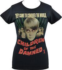 LADIES BLACK T-SHIRT CHILDREN OF THE DAMNED B-MOVIE HORROR CREEPY SCI-FI S-2XL