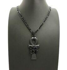 "New Eye of Heru, Ankh Cross, Anubis Pendant & 24"" Figaro Chain Hip Hop Necklaces"