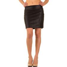 Rock Röcke Damen Minirock Lederimitat Stretchrock Hüftrock Lederoptik Schwarz