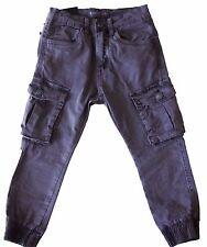Pantaloni bambino cargo jeans primavera tasconi polsino cotone tg.4/14 Anni