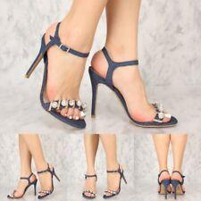 Open Toe sequin pom pom Ankle Strap High Stilettos Heels Women Sandals Size 6-10