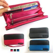 Womens RFID Theft Blocking Wallet Zip Clutch Phone Wristlet Purse Id Cards Strap