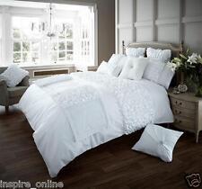 NEW White Luxury Modern Ruffled Pleated Bedding Duvet Set All Sizes