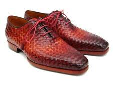 Paul Parkman Bordeaux & Tobacco Woven Leather Oxfords (ID#54HK42)