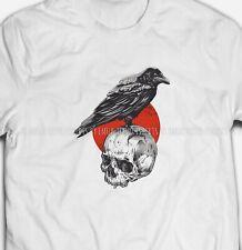 Mens Womens Raven Skull Edgar Allan Poe S-XXXL White Cotton T-shirt Tshirts Tee