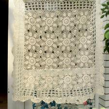 Vintage Crochet Table Cloth Topper Doilies Square Cotton Lace Tablecloth Wedding