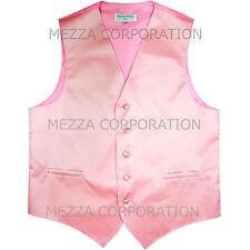 New Men's Tuxedo Vest Waistcoat Horizontal Stripes only prom wedding party Pink
