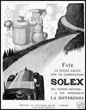 PUBBLICITA' 1927 CARBURATORE AUTO SOLEX MOTORE CARBURETOR CAR MONTAGNA TORINO