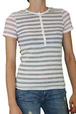 CUSTO BARCELONA Women's Piper Comblaila Striped Henley Top 290310 $98 NWT