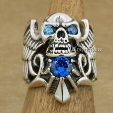 Argent Sterling 925 diable Aile Crâne CZ Yeux Homme Motard Gothique Punk Ring 9M113B