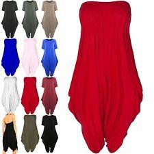 Womens Boobtube Italian Drape Playsuit Lagenlook Romper Baggy Fit Harem Jumpsuit
