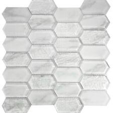 White Hexagon Pattern Glass Mosaic Tile Kitchen Shower Wall Backsplash