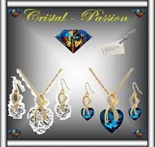 Parure collier boucle d'oreille Cristal swarovski elements Big Coeur doré or fin
