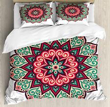 Asian Duvet Cover Set with Pillow Shams Retro Traditional Mandala Print