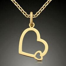ECHT GOLD 💕  Kleiner Anhänger Herz Doppelherz 12 mm, Kette optional