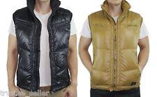 New DIESEL Mens Warbo Winter Puffer Down Jacket Coat Zip Up Vest  Black Yellow