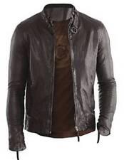 Men's Genuine Lambskin Leather Biker Jacket Buckle Strap