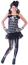 Girls Skeleton Costume Skull & Bones Fancy Dress Ballerina Tutu Child Kids NEW