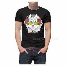 I Love Music Wolf Hund T-Shirt Druck Unisex Baumwolle Fruit of The Loom